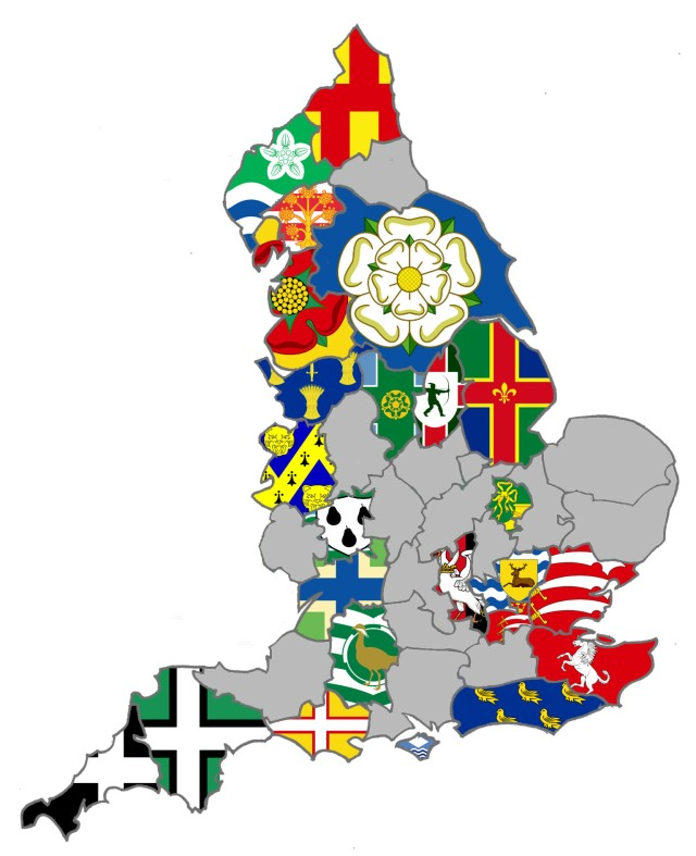 England County Flag Map