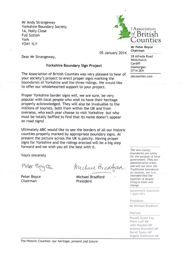 ABC Letter Of Endorsement Yorkshire Boundary 050114