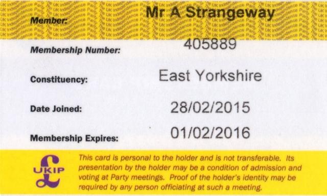 Andy Strangeway UKIP Membership Card